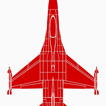 F-16 Fighting Falcon Red by jnmvinylstudio
