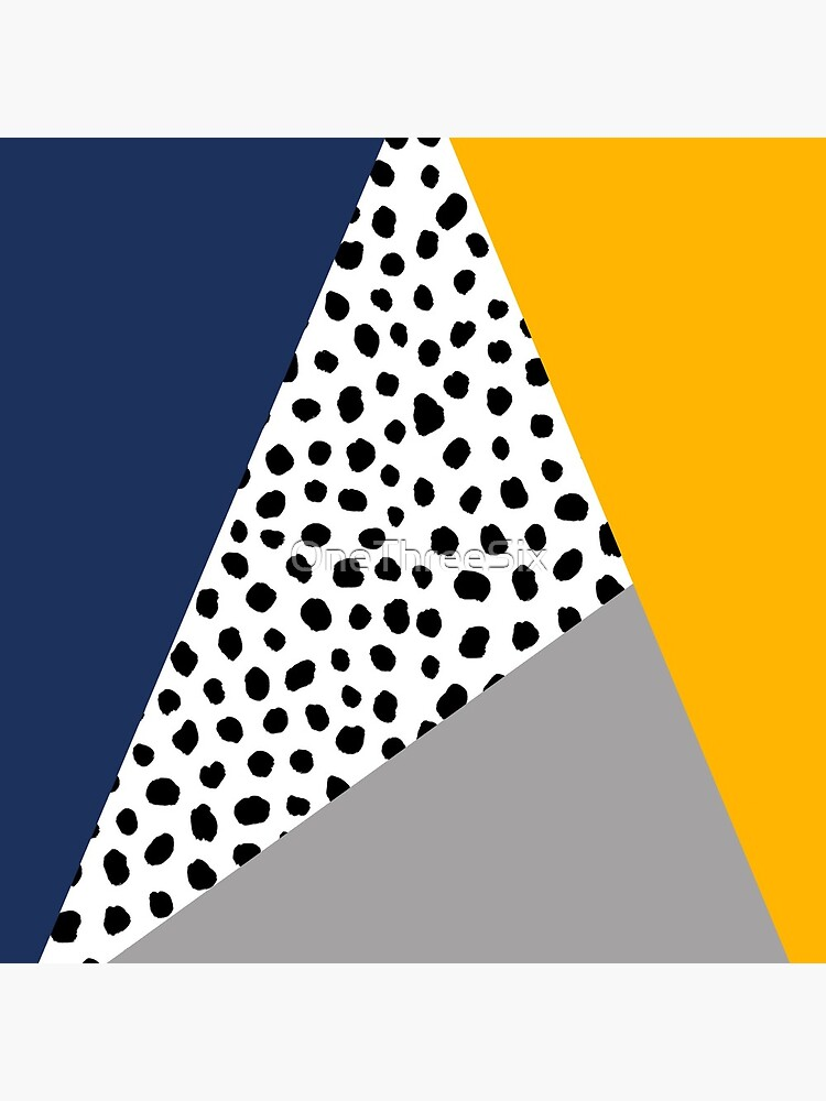 Geometric Polka Dot, Navy Blue, Mustard Yellow and Grey  by OneThreeSix
