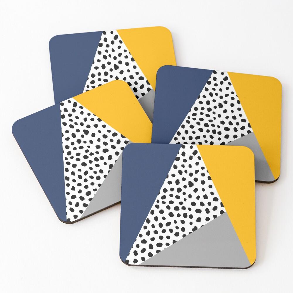 Geometric Polka Dot, Navy Blue, Mustard Yellow and Grey  Coasters (Set of 4)
