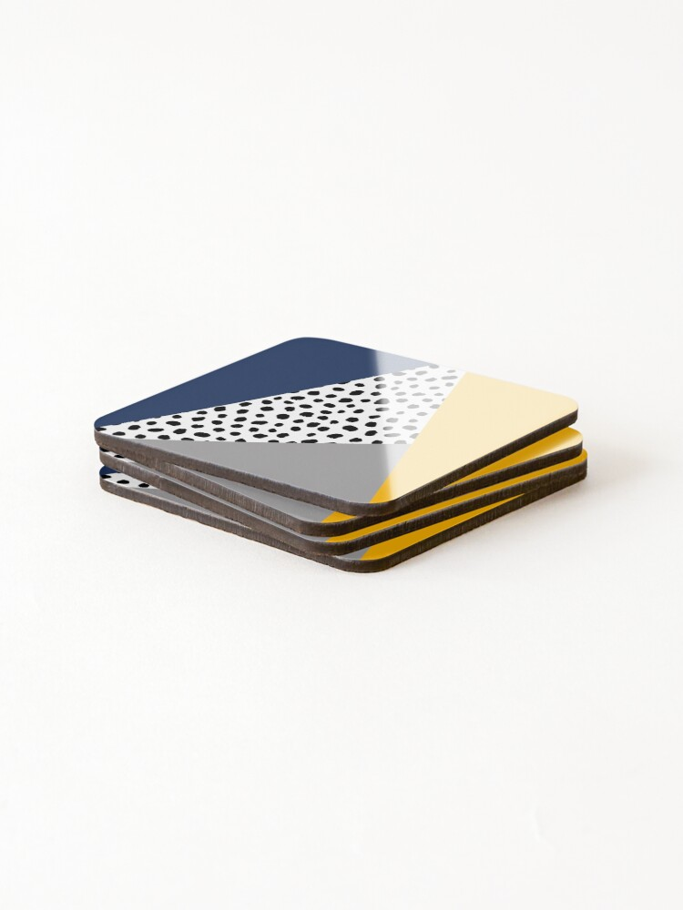 Alternate view of Geometric Polka Dot, Navy Blue, Mustard Yellow and Grey  Coasters (Set of 4)