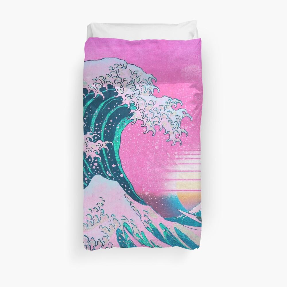 Vaporwave Aesthetic Great Wave Off Kanagawa Retro Sunset Duvet Cover