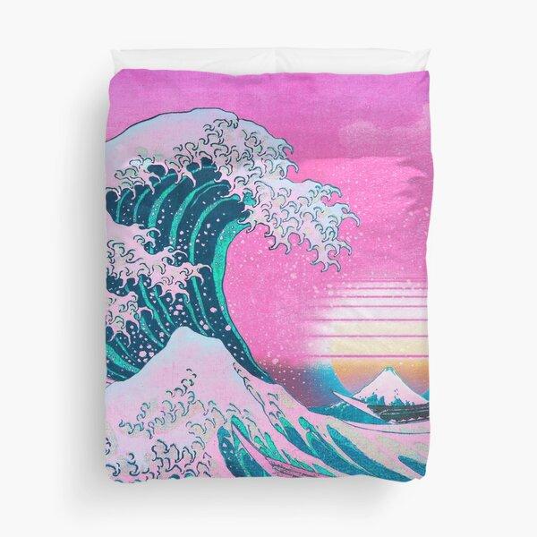 Vaporwave Aesthetic Great Wave Off Kanagawa Retro Sunset Duvet Cover