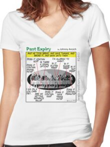 Cartoon : Allergic Jesus - Last Supper Women's Fitted V-Neck T-Shirt