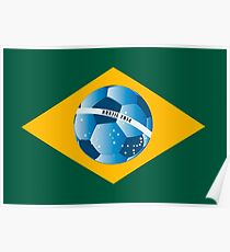 Brazil flag with ball Poster