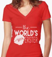 The World's Yer Erster Women's Fitted V-Neck T-Shirt