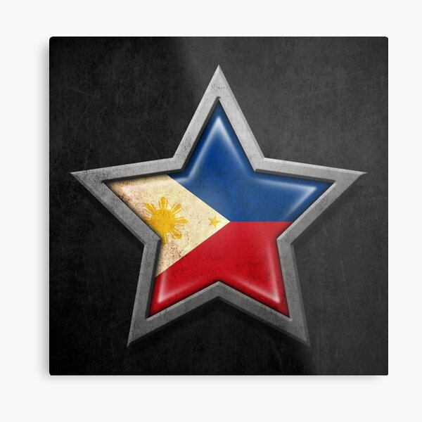 Filipino Flag Inside of an Aged and Scratched Star Metal Print