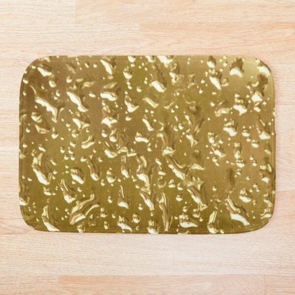 Golden Water Droplets Bath Mat