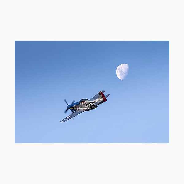 P51 over the moon Photographic Print