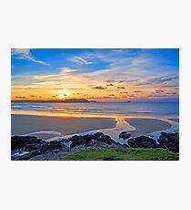 Polzeath Cornwall Sunset Photographic Print