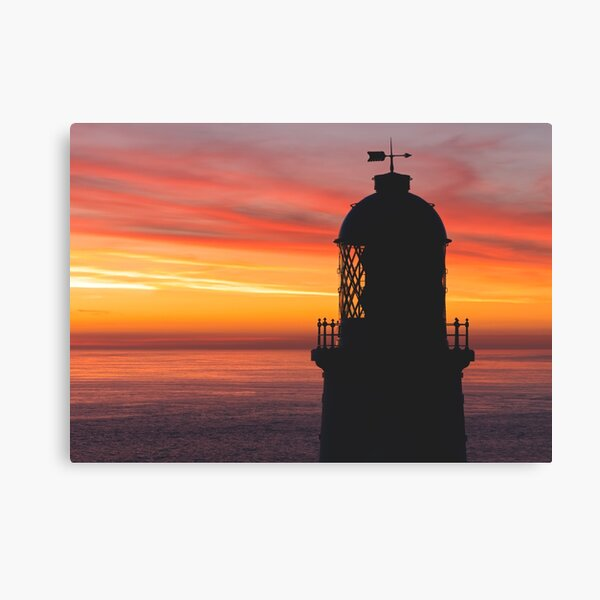 Sunset at Pendeen Lighthouse, Cornwall Canvas Print