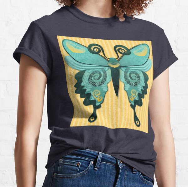 Butterfly in Yellow Gold and Teal Classic T-Shirt
