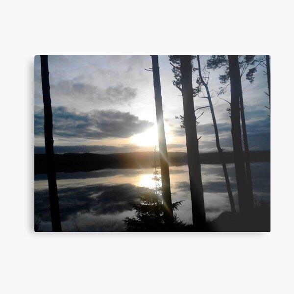 Kielder Water Sunset Sky Reflection Metal Print
