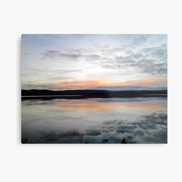 Kielder Water Reflection Of Sunset Sky  Metal Print