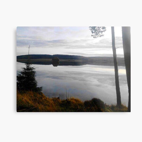 Kielder Reservoir Reflection Of Sky In Water Metal Print