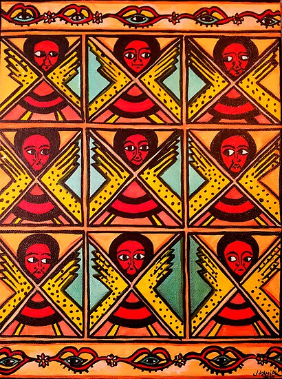 Quot 9 Angels Ethiopian Folk Art Quot Photographic Print By