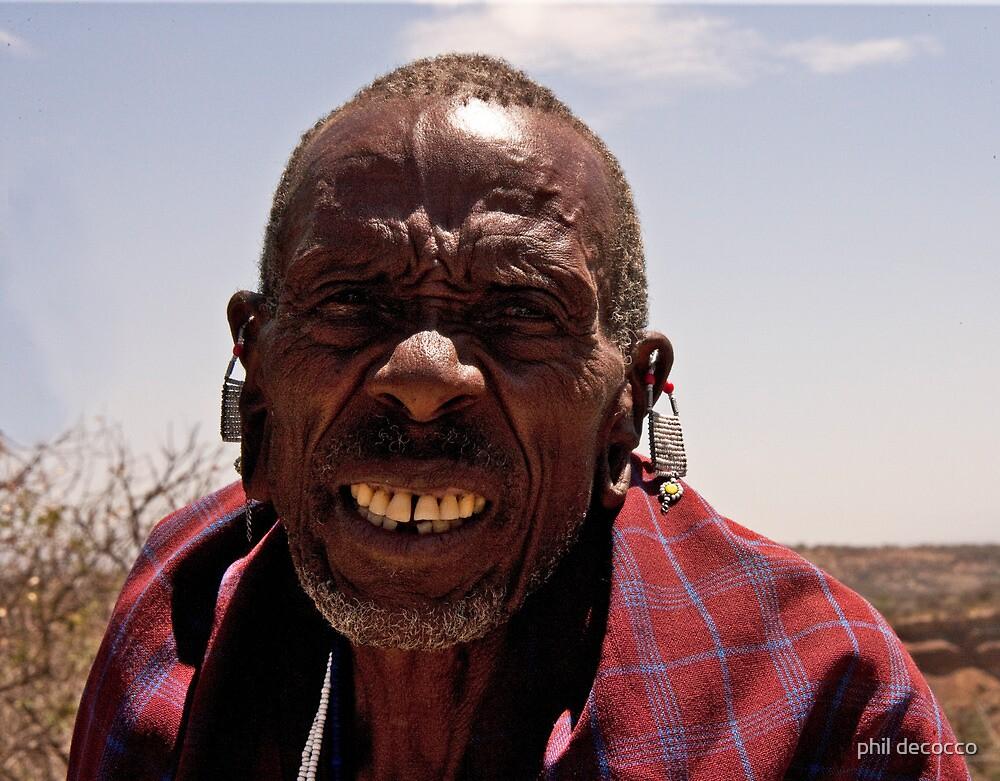 Elder Masai Warrior by phil decocco