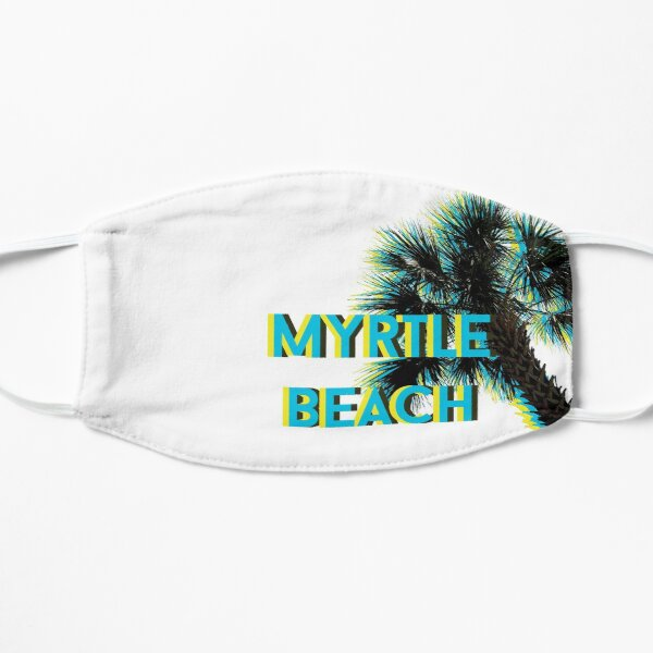Myrtle Beach with Palm Tree in Bright Blue and Yellow Mask