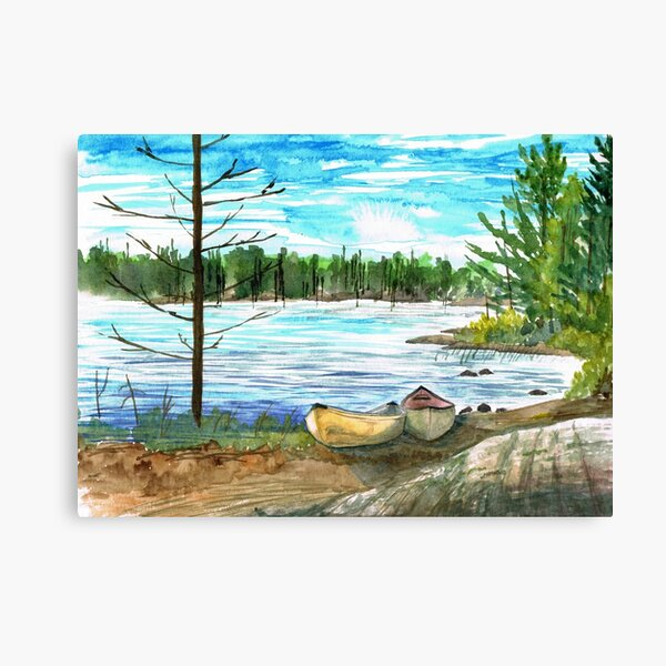 Canoes on Go Home Lake Canvas Print