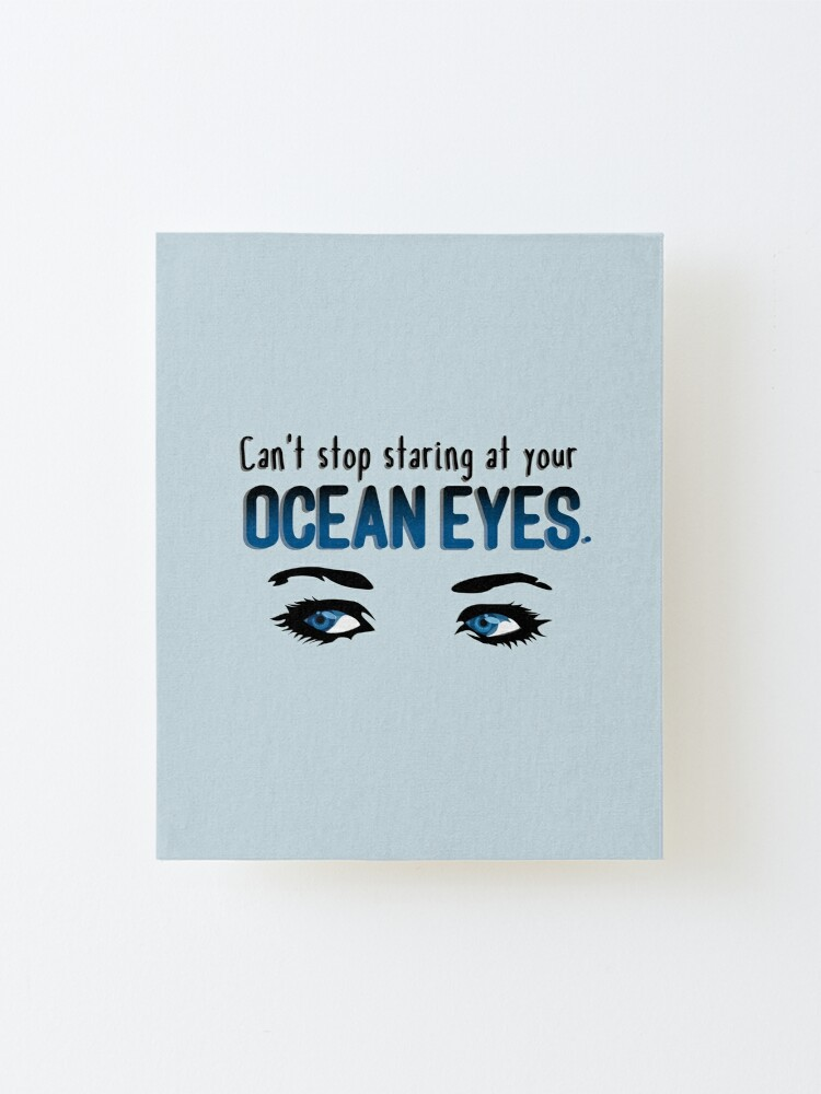 Alternate view of Staring At Your Ocean Eyes - Billie Eilish Design Mounted Print