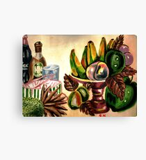 A bowl of fruits and drinks on the rocks Canvas Print