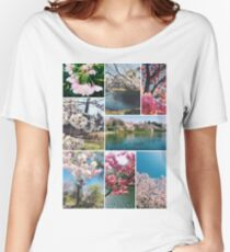 Beautiful Sakura Cherry Blossoms Park Pond Garden Spring Women's Relaxed Fit T-Shirt