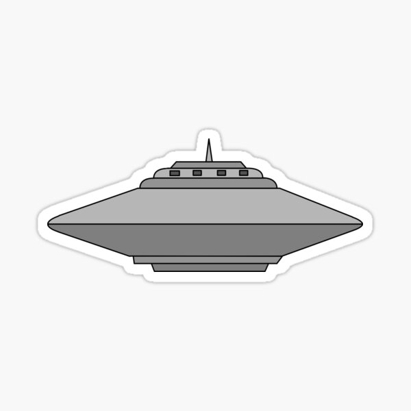 UFO Flying Saucer Alien Spaceship Cartoon Sticker