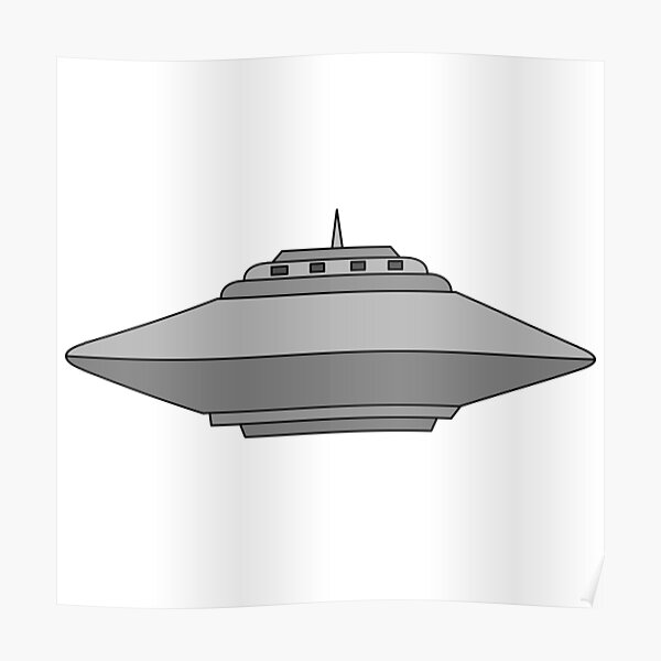 UFO Flying Saucer Alien Spaceship Cartoon Poster