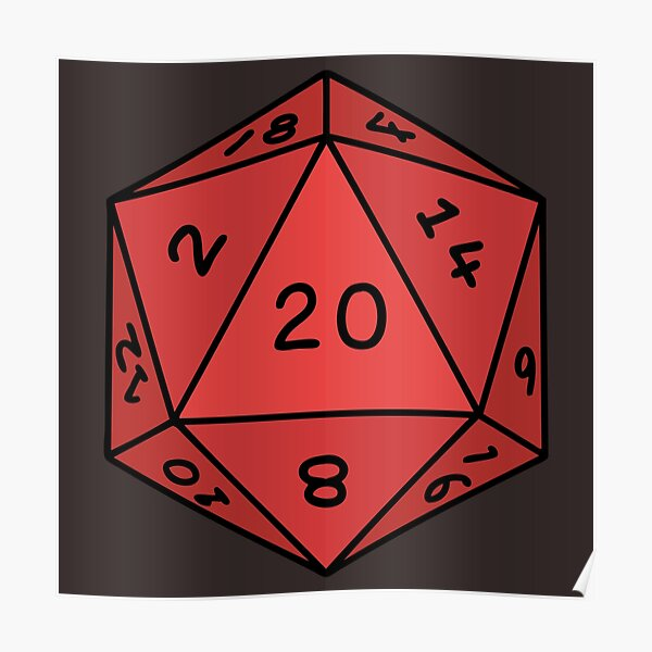 Traditional 20 Sided Dice Tattoo Poster