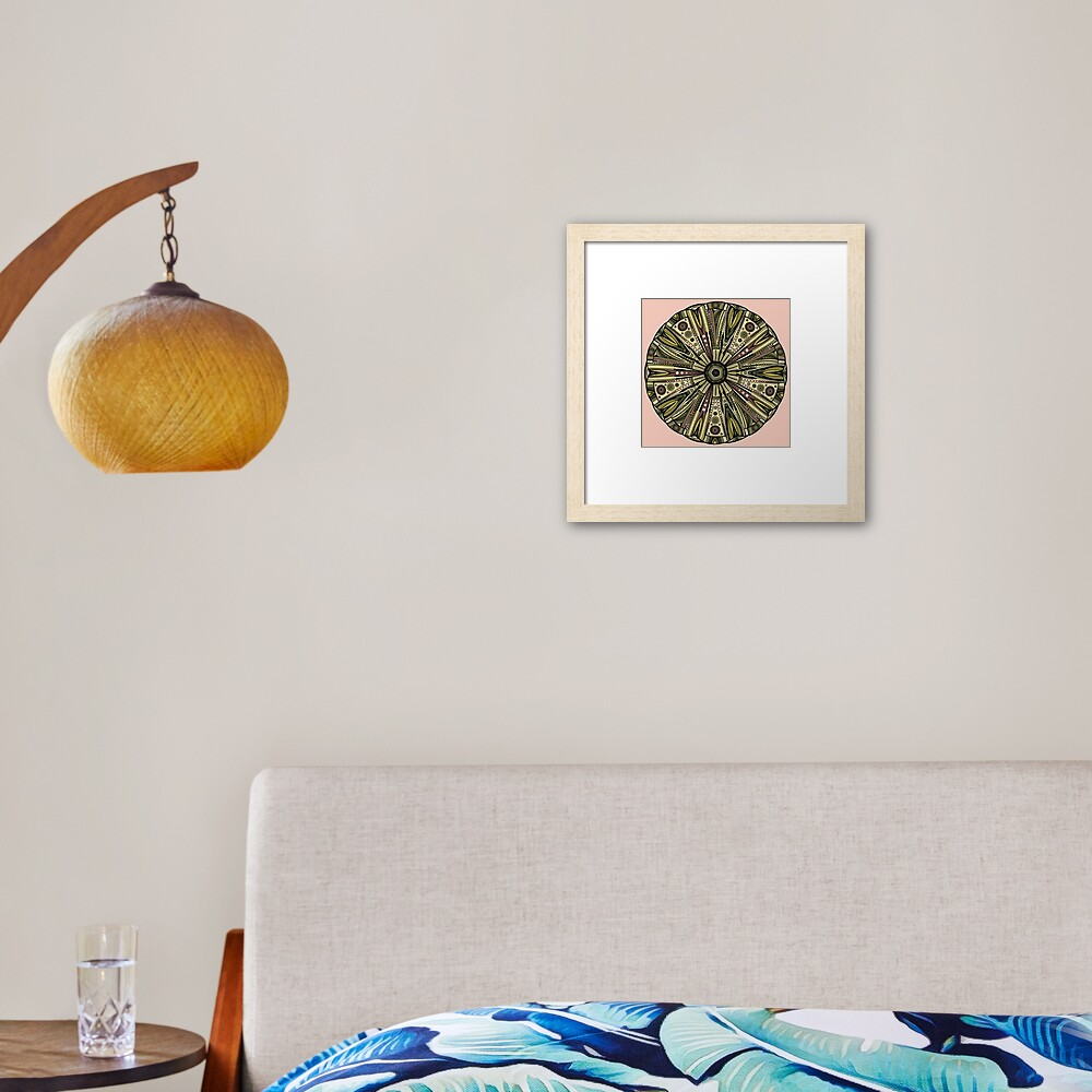 Seaside Urchin Mandala Framed Art Print