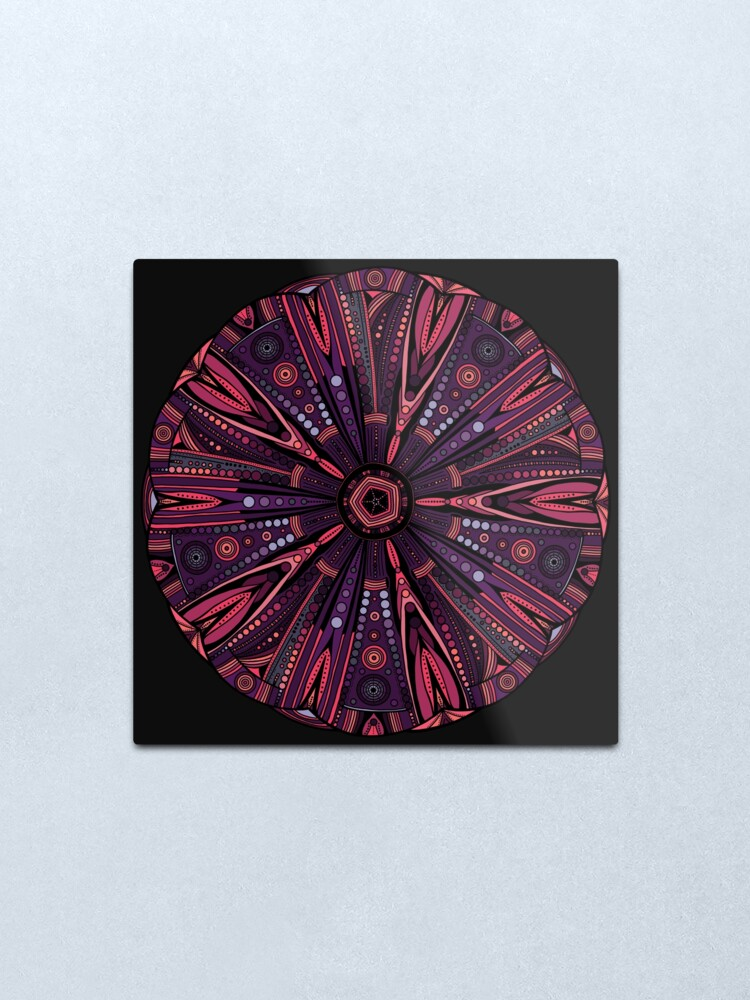 Alternate view of Underwater Urchin Mandala Metal Print