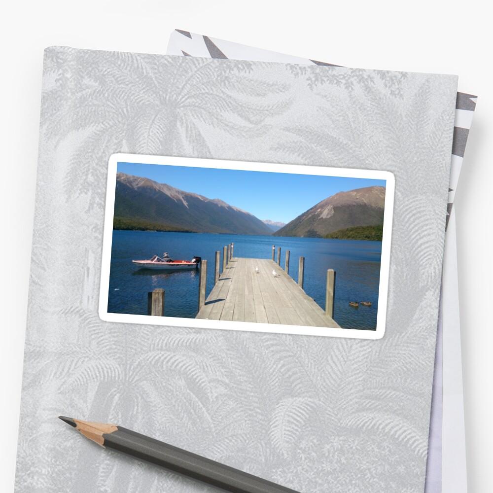jetty, lakeside, New Zealand by Fruity15