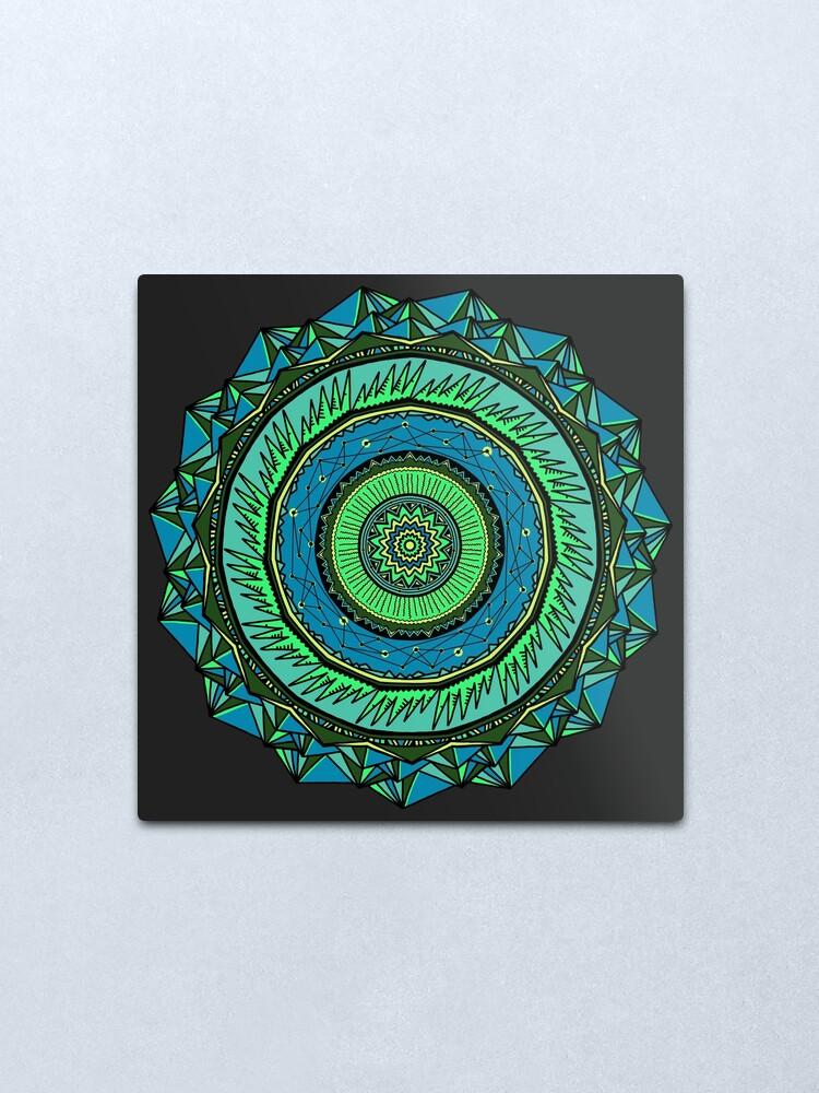 Alternate view of Energy Core Mandala Metal Print