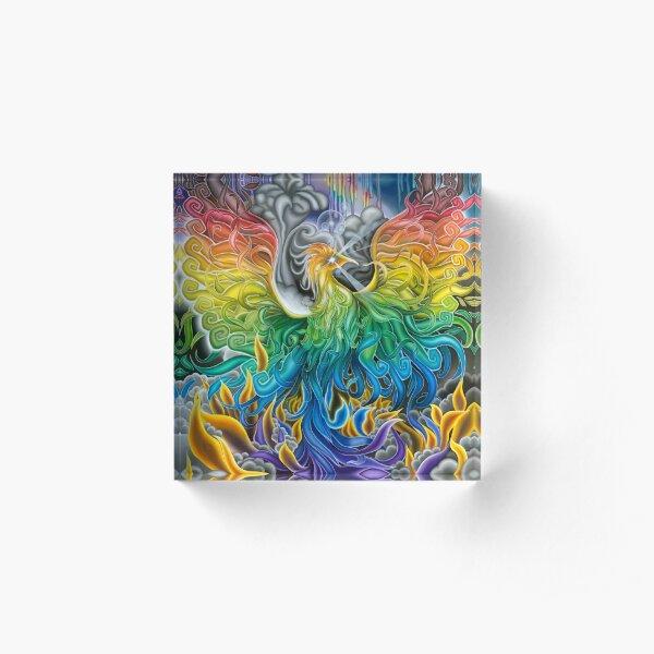 Rainbow Phoenix Rising Acrylic Block