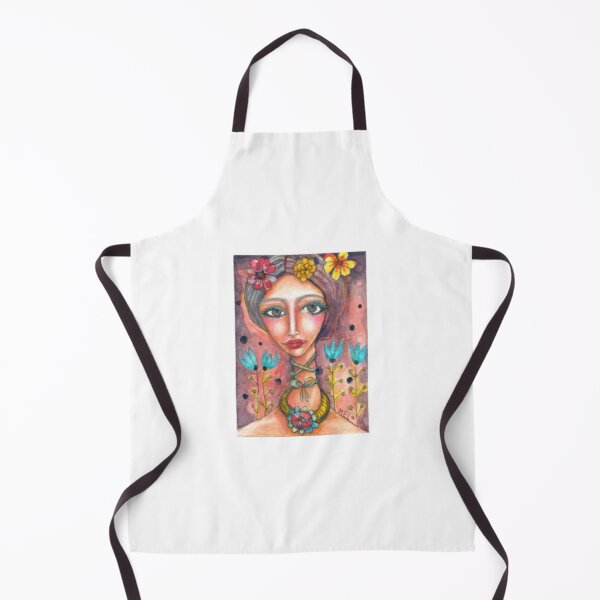 Frida Kahlo & Blue Tulips Apron