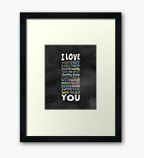 Wiggly Giggly You - Chalkboard Love Poem for Child Framed Print