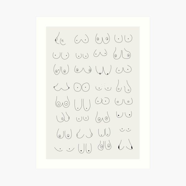 Minimal Boobs - Line Art  Art Print