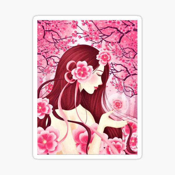 Girl and blossoms Sticker