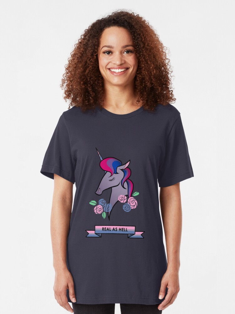 Alternate view of Bisexual unicorn Slim Fit T-Shirt