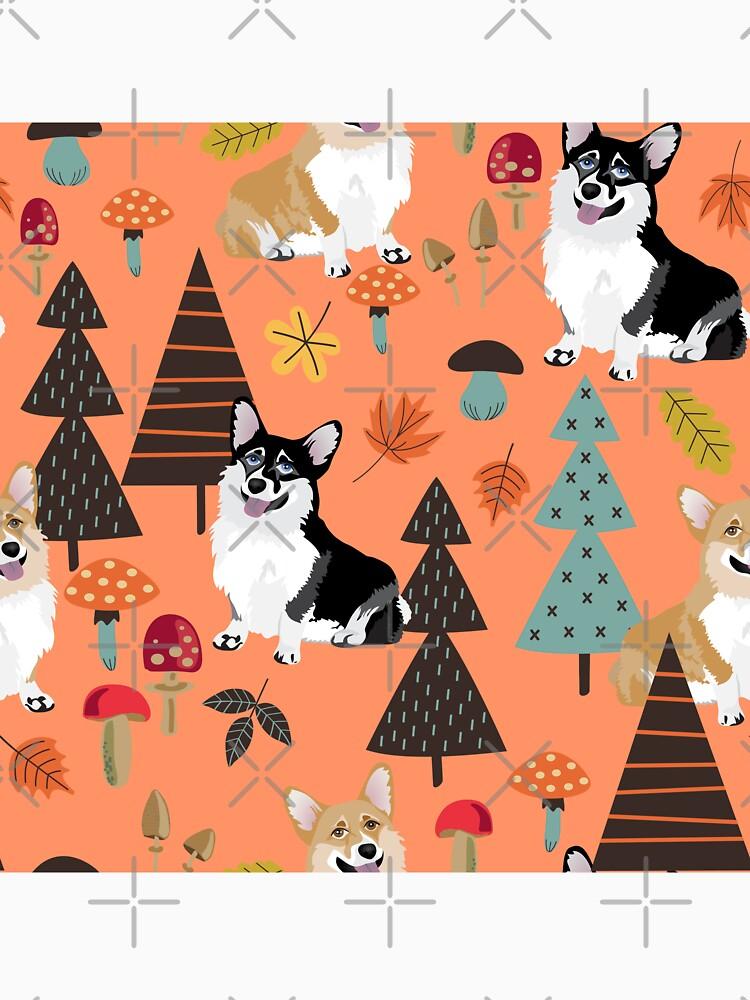 Corgis In Fall Forest - Orange by Corgiworld