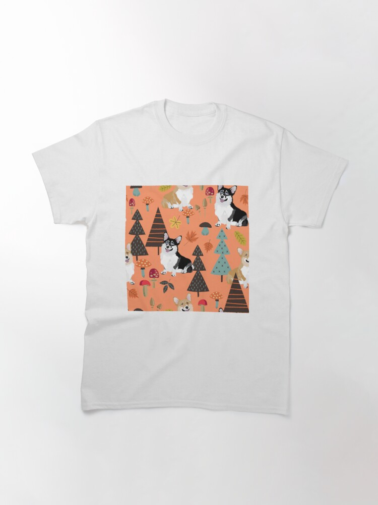 Alternate view of Corgis In Fall Forest - Orange Classic T-Shirt