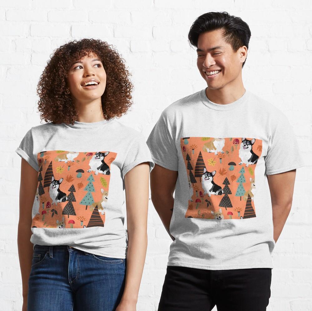 Corgis In Fall Forest - Orange Classic T-Shirt