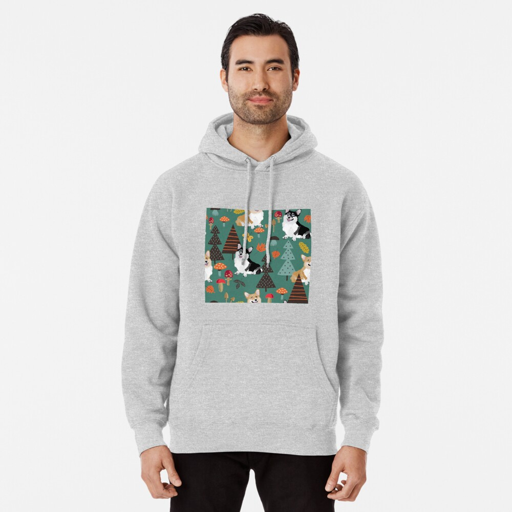 Corgis In Fall Forest - Dark Teal Pullover Hoodie