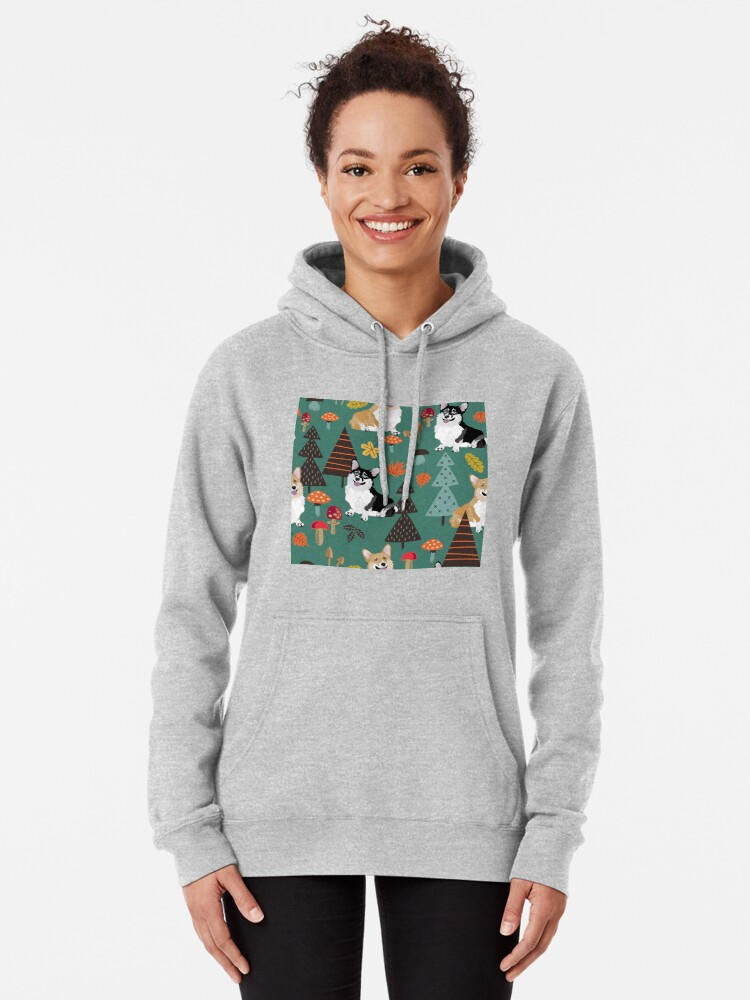 Alternate view of Corgis In Fall Forest - Dark Teal Pullover Hoodie