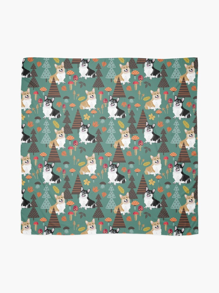 Alternate view of Corgis In Fall Forest - Dark Teal Scarf