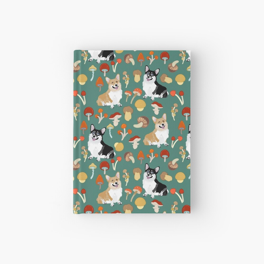 Corgis In Mushroom Fall Forest - Teal Hardcover Journal
