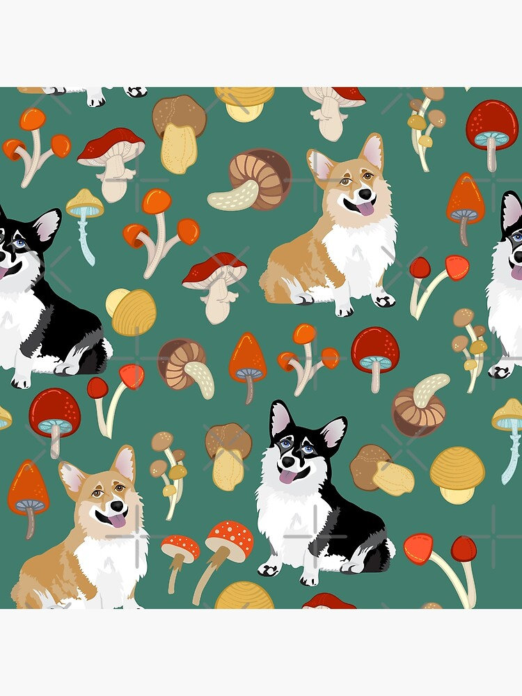 Corgis In Mushroom Fall Forest - Teal by Corgiworld