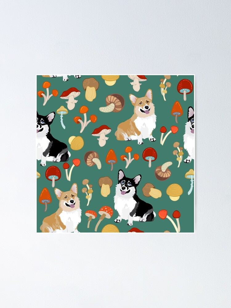 Alternate view of Corgis In Mushroom Fall Forest - Teal Poster