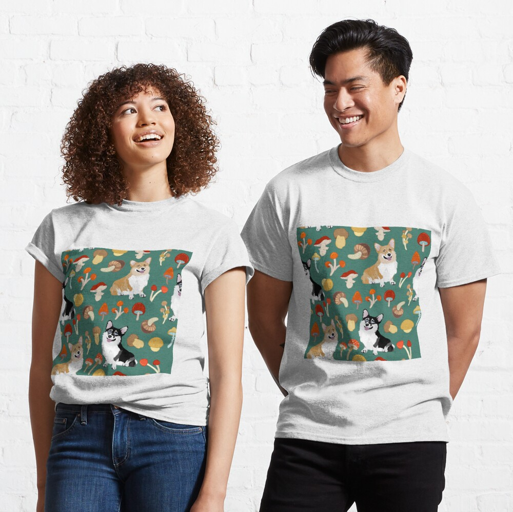 Corgis In Mushroom Fall Forest - Teal Classic T-Shirt