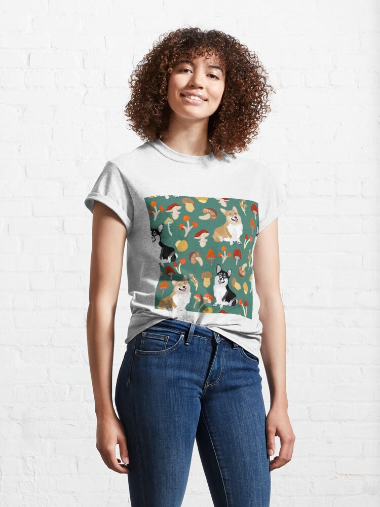 Alternate view of Corgis In Mushroom Fall Forest - Teal Classic T-Shirt