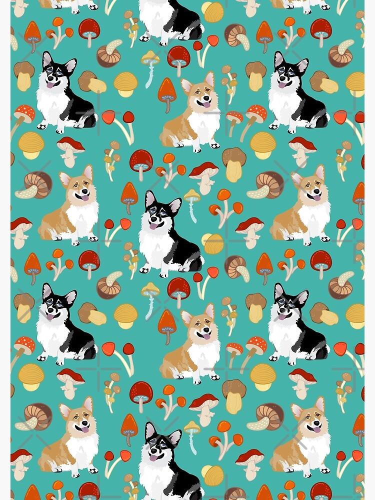 Corgis In Mushroom Fall Forest - Turquoise by Corgiworld
